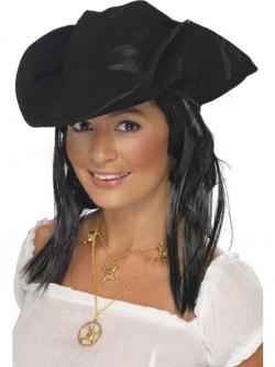 Pirátský klobouk s černými vlasy - barva černá 52404a6dba