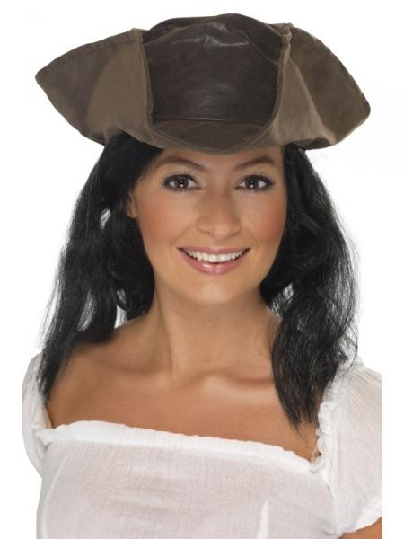 e34c05254ac Pirátský klobouk s černými vlasy - barva hnědá - Ptákoviny Smíchov