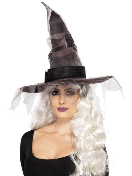 a0312315438 Čarodějnický klobouk - šedá dekorace